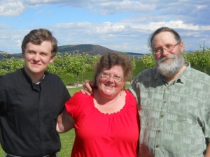 Son, me, husband, facing the sun