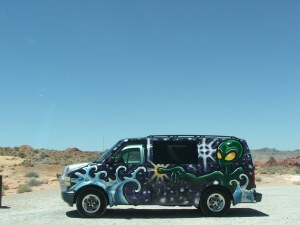 Parked next to us at the Valley of Fire. Not the Partridge Family bus but appropriate for alien landscapes.