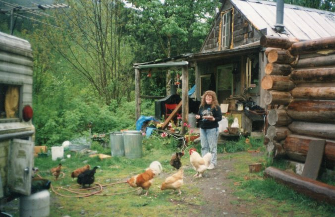 Lisa with white Bear & chickens